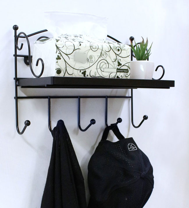 decorative wooden wall mounted coat rack with shelf