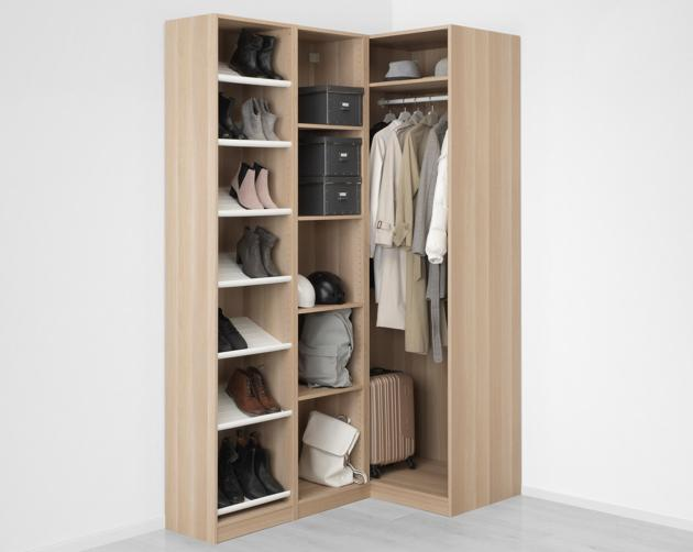 160 88 x 236 CM IKEA Fitted White Stained Corner Wardrobe