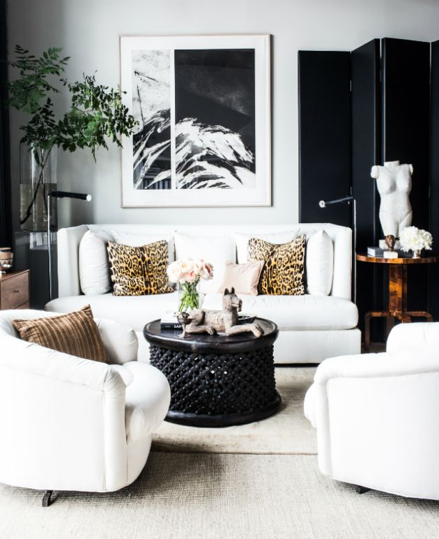 Black and White Living Room Design with Abstract Painting