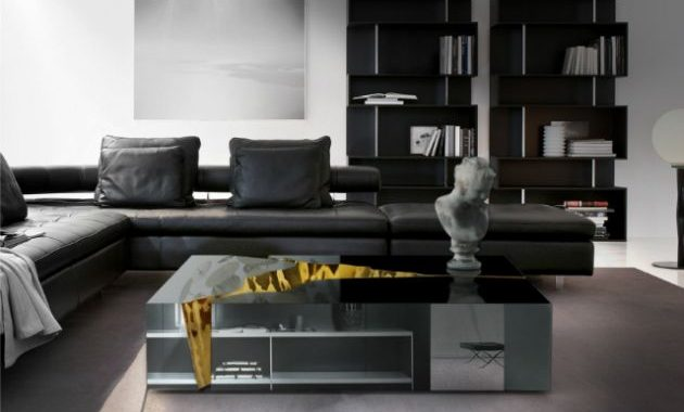 Black and White Living Room Design with Black Sofa