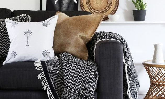 Black and White Living Room Design with Burlap Rug