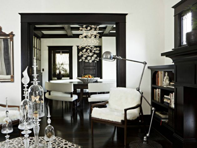 Black and White Living Room Design with Decorative Glasses