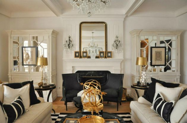Black and White Living Room Design with Gold Lamps