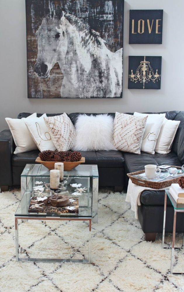 Black and White Living Room Design with Horse Painting