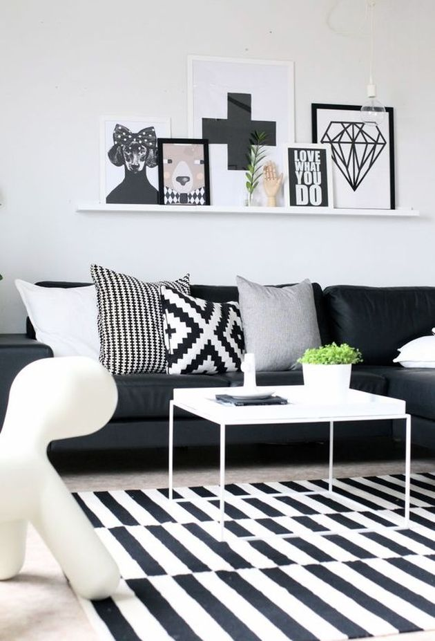 Black and White Living Room Design with Iron Coffee Table