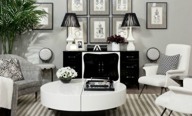 Black and White Living Room Design with Round Table