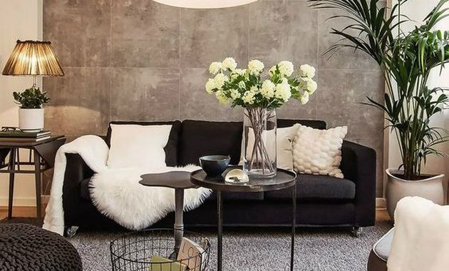 Black and White Living Room Design with Rug