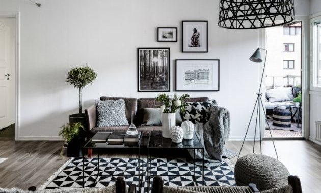 Black and White Living Room Design with Rustic Sofa