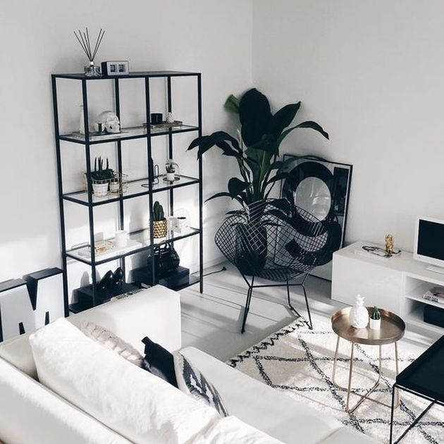Black and White Living Room Design with White Sofa