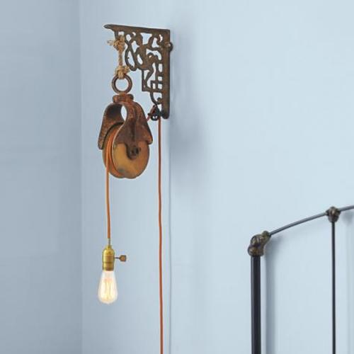 DIY Barn-Pulley Wall-Mounted Light Bedroom Furniture