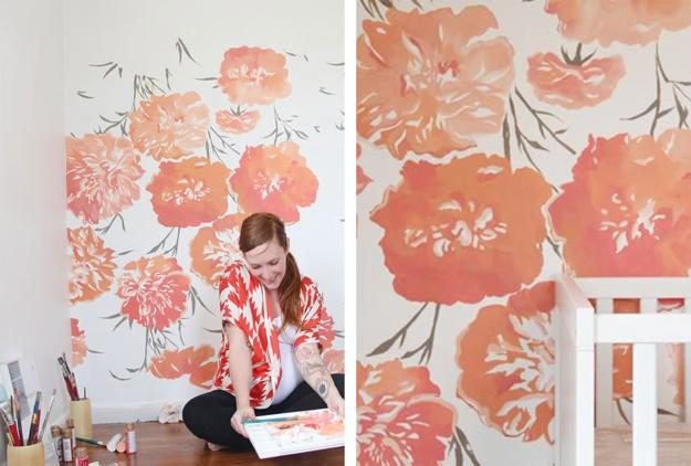 DIY Bedroom Painted Wall Pattern Decor