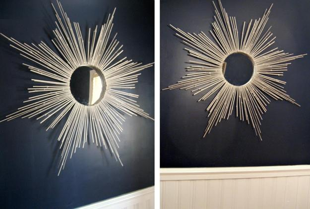 DIY Bedroom Starburst Mirror Wall Decor