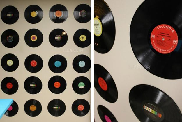 DIY Bedroom Vinyl Records Wall Decor
