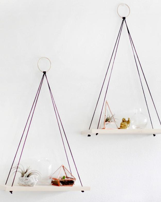 DIY Bedroom Wall Hanging Shelves Decor