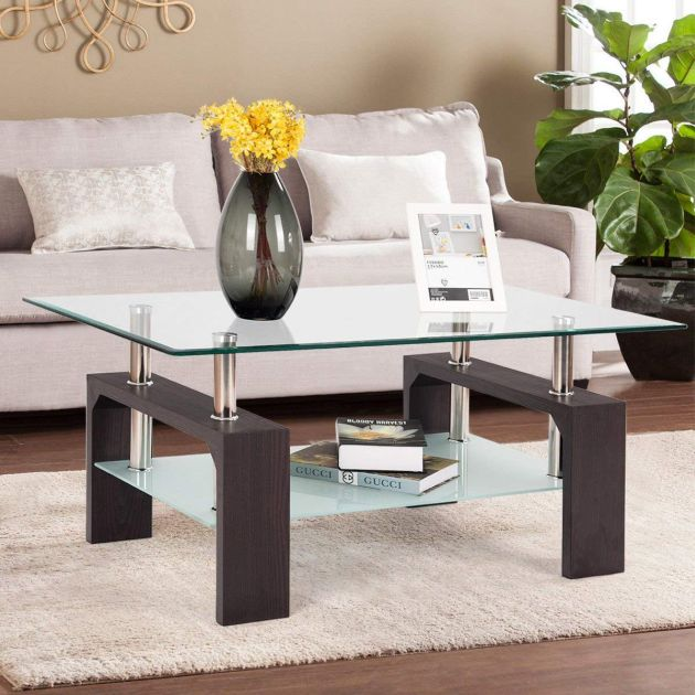 Modern Glass Coffee Table With Shelf