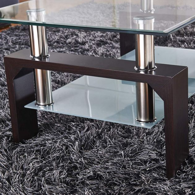 Modern Walnut Glass Coffee Table With Wooden Legs For Living Room