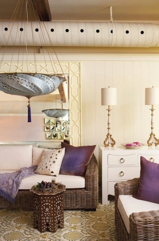 Neutral Moroccan Living Room With Purple Touches