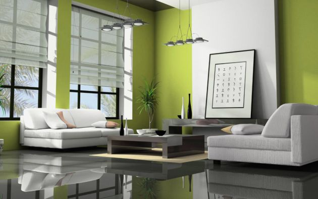 Green Living Room Design Idea with Asian Inspired Design