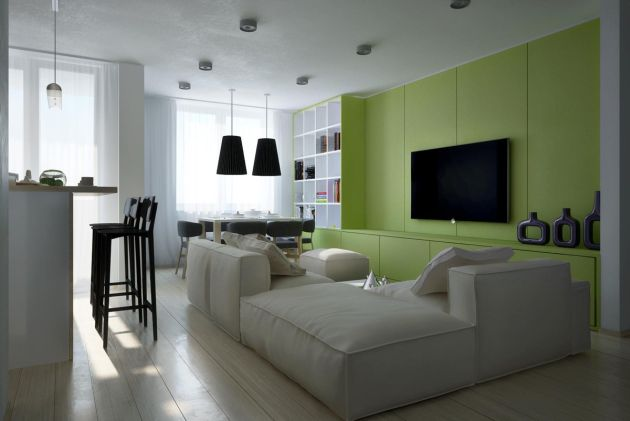 Green Living Room Design Idea with Flat Screen TV And Built-In Cabinets