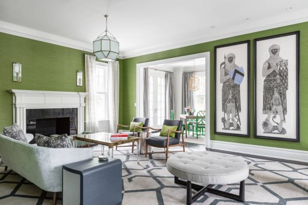 Green Living Room Design Idea with Oversized Accent Rug and A Marble Fireplace