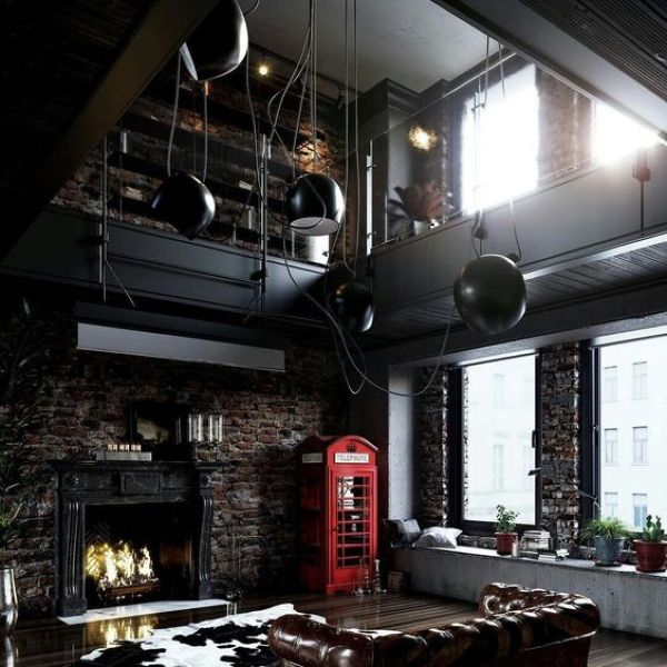 Industrial Living Room Design Idea with Blackened Steel Decor and Concrete