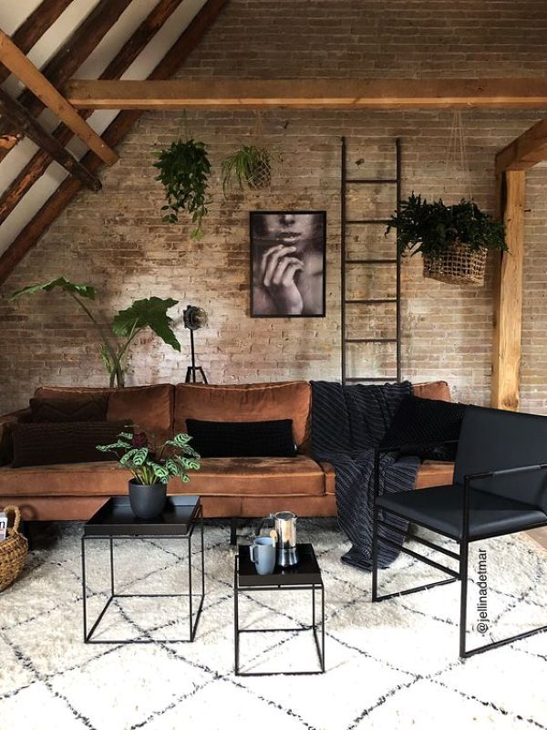 Industrial Living Room Design Idea with Brick Walls and Metal Coffee Tables