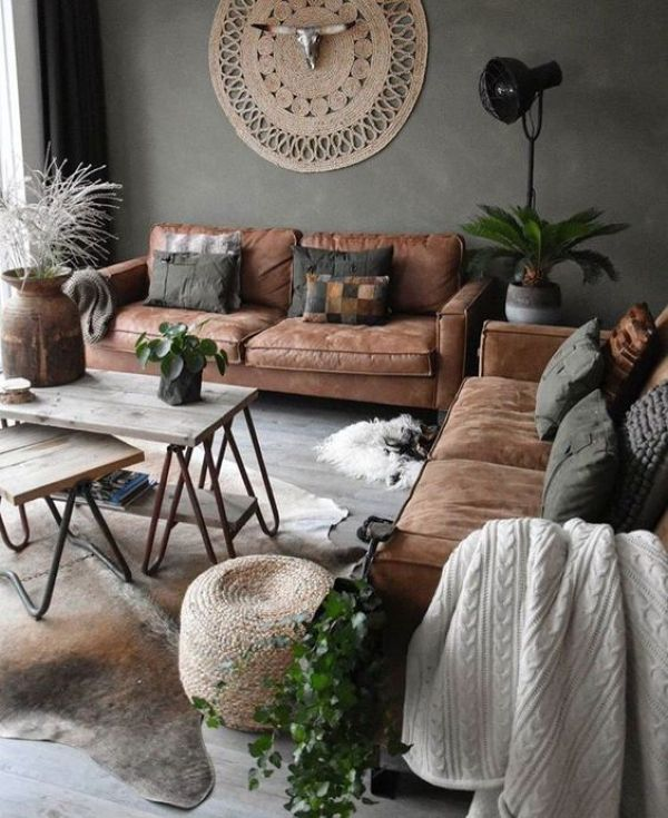 Industrial Living Room Design Idea with Hairpin Leg Coffee Tables and Jute Decor