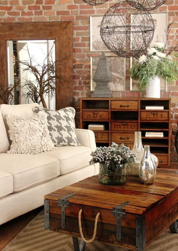 Industrial Living Room Design Idea with Vintage Wooden Storage Unit