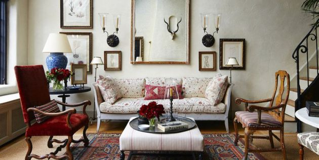 Living Room Idea With 19th-Century French Gouaches And Drawing By Jean Cocteau