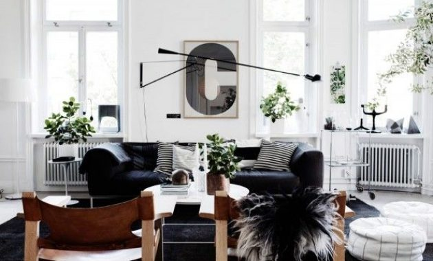 Scandinavian Living Room Design Ideas With Indoor Plants And Swing Arm Wall Lamp