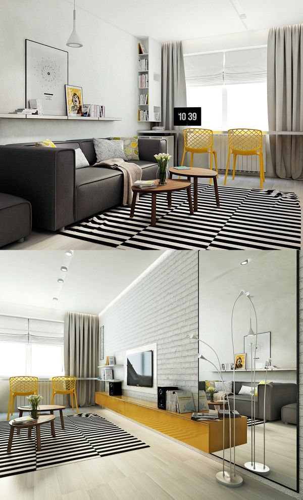 Scandinavian Living Room Design Ideas With Trendy Bright Yellow Color