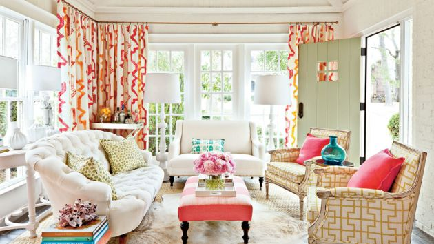 Simple Living Room Decorating Idea by Mixing Instead of Match Fabrics