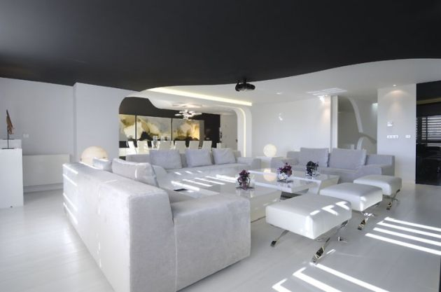 White Living Room Idea With Black Ceiling