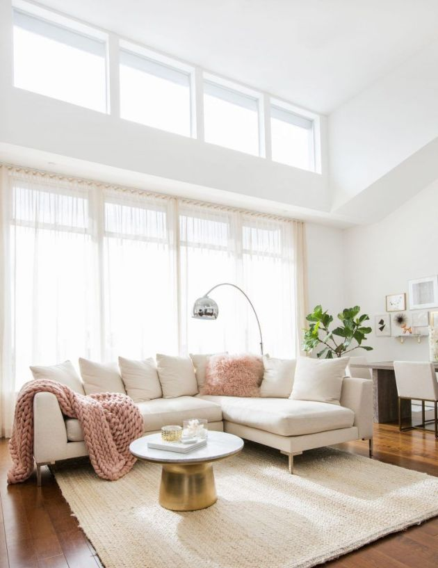 White Living Room Idea With Golden Table