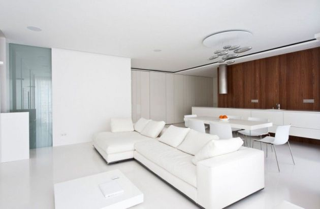 White Living Room Idea With Wood Accent Wall
