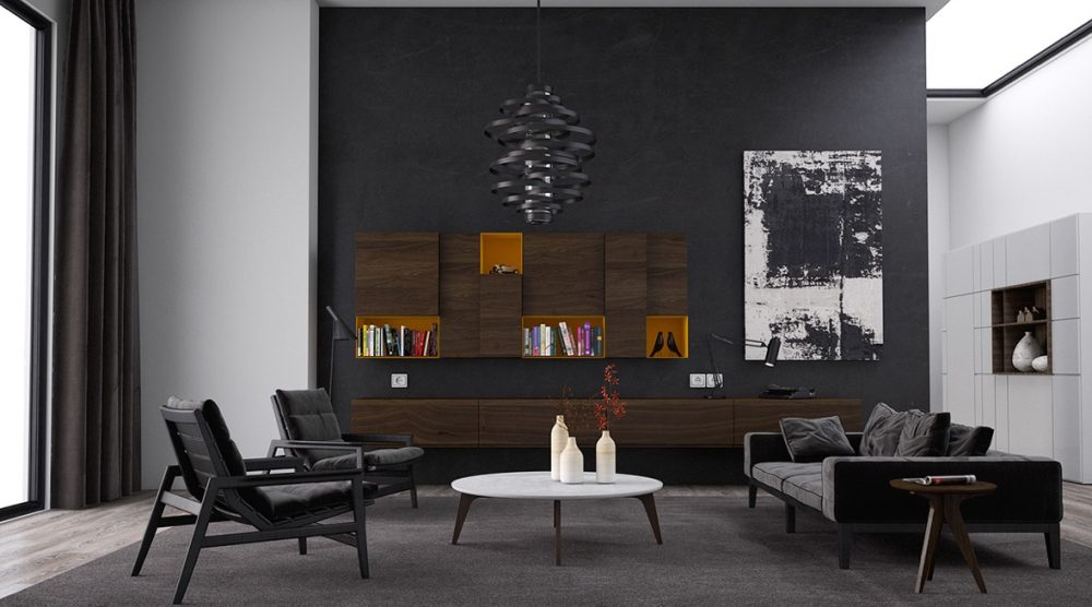 black living room with black chair