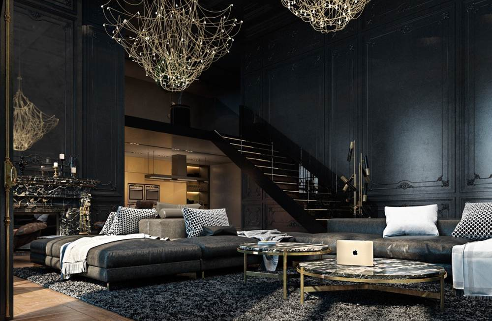 black living room with classic lamps