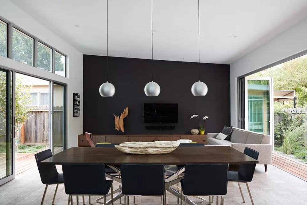 black living room with flat screen tv