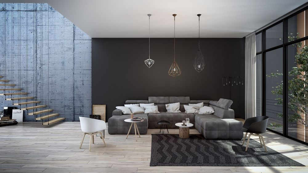black living room with hanging lamps