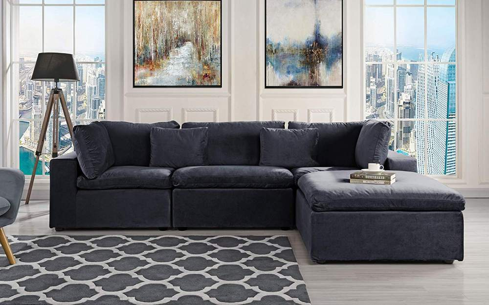 Classic Large L Shape Velvet Black Sectional Sofa with Wide Chaise