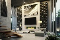 luxury living room with imposing bookcases
