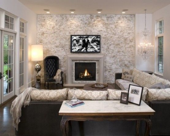 Refined Living Room With Whitewashed Brick Statement Wall