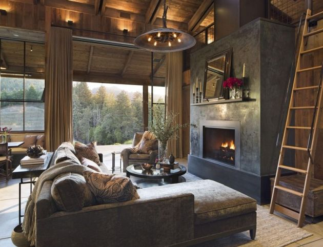Rustic Living Room with Velvet Texture and Fireplace