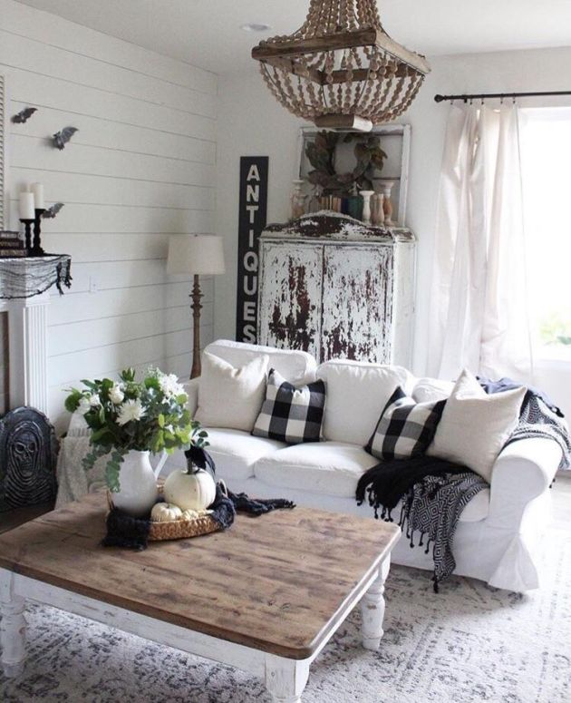 Rustic Living Room With Distressed Furniture Pieces
