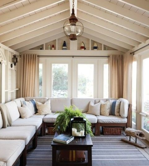 Traditional Sunroom With A Large Traditional Bench