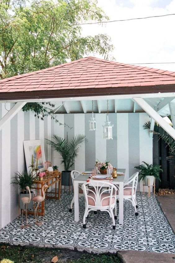 Tropical Patio With White And Pink Rattan Chairs And Pink Flamingos