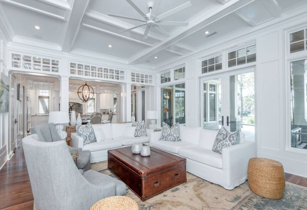 White Living Room Idea With Wooden Table