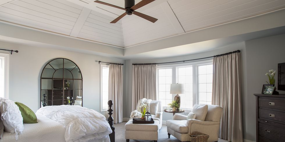Airy Master Retreat Decor with a Planked Wood Bedroom Ceiling By Kristin Petro Interiors, Inc.