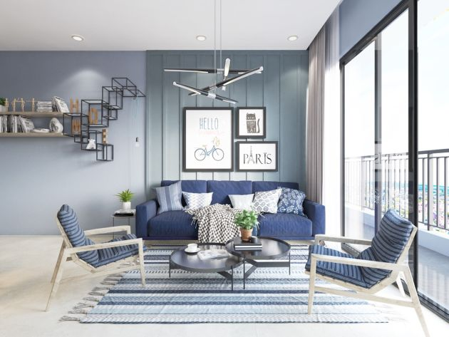 Blue Living Room With Black Metal Coffee Tables And Unique Wall Shelves