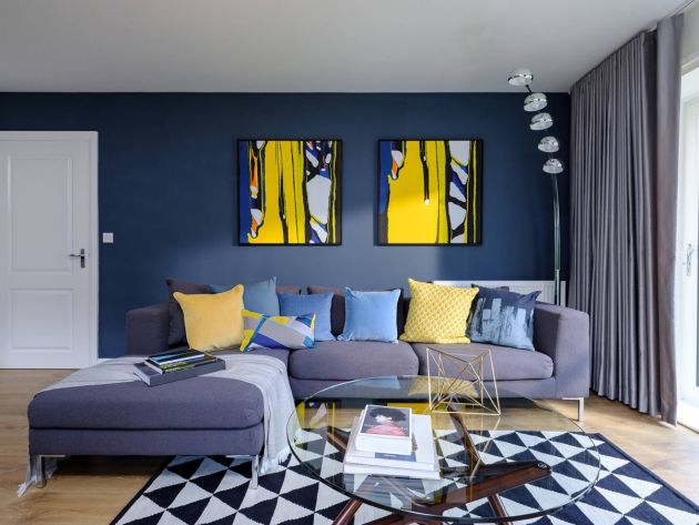 Blue Living Room With High Contrast Sunshine Yellow Accents And Graphic Prints On Cushions